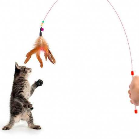 Hračka s perím na paličke 90cm