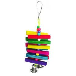 Drevená hračka so zvoncami pre papagáje 22x7cm