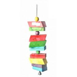 Drevená hračka so zvoncom pre papagáje 56x13cm