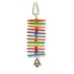 Drevená hračka so zvoncom pre papagáje 28x4,5cm