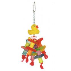 Drevená hračka s kačičkou pre papagáje 22x10cm