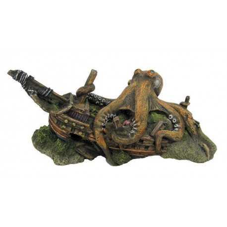 Vrak lode s chobotnicou 22,5x14x10,5cm